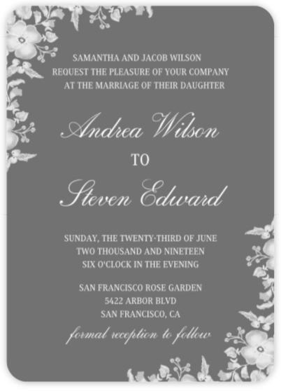 Invitations elegant wedding 13646