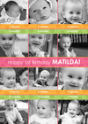 Pink and Orange 1st Birthday Collage