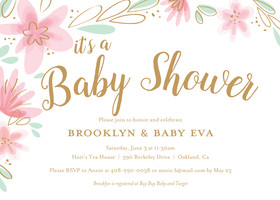 Girls baby shower invitations custom baby girl cards mixbook light floral baby shower filmwisefo